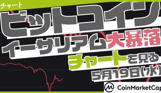 【仮想通貨】ビットコイン、イーサリアム大暴落が続く【チャートを見る】【5月19日】